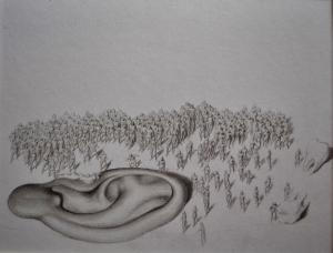 Antes y despues 3,grafito sobre papel 19 x 25 cm