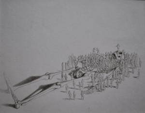 Antes y despues, grafito sobre papel 19 x 25 cm