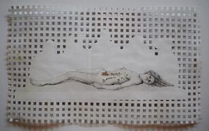 Autopsia, birome sobre papel calado. 20 x 25 cm