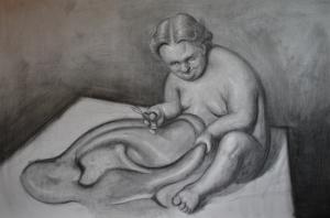 La atracción del abismo, carbonilla sobre papel. 1,50 x 1 m