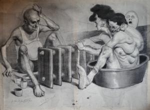 Mono, técnica mixta sobre tela. 1,50 x 1 m